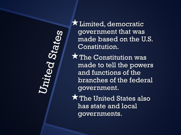 Limited, democratic government that was made based on the U.S. Constitution.