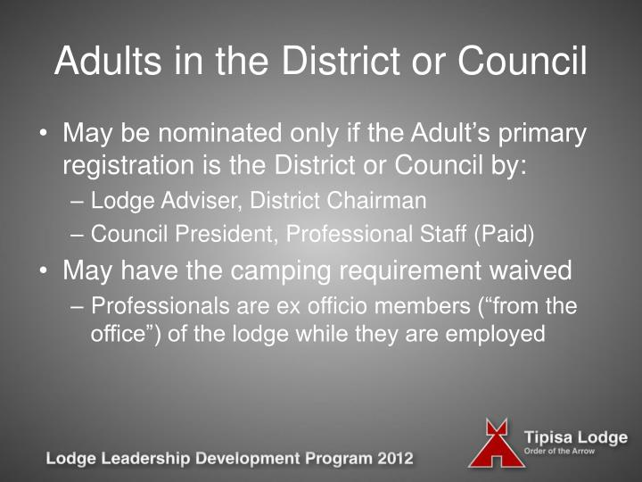 Adults in the District or Council