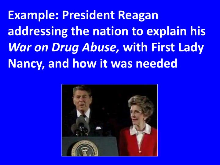 Example: President Reagan addressing the nation to explain his