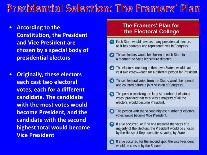 Presidential Selection: The Framers' Plan