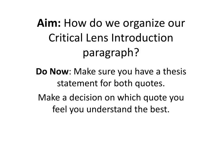 critical lens thesis statement