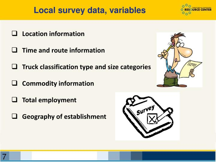 Local survey data, variables