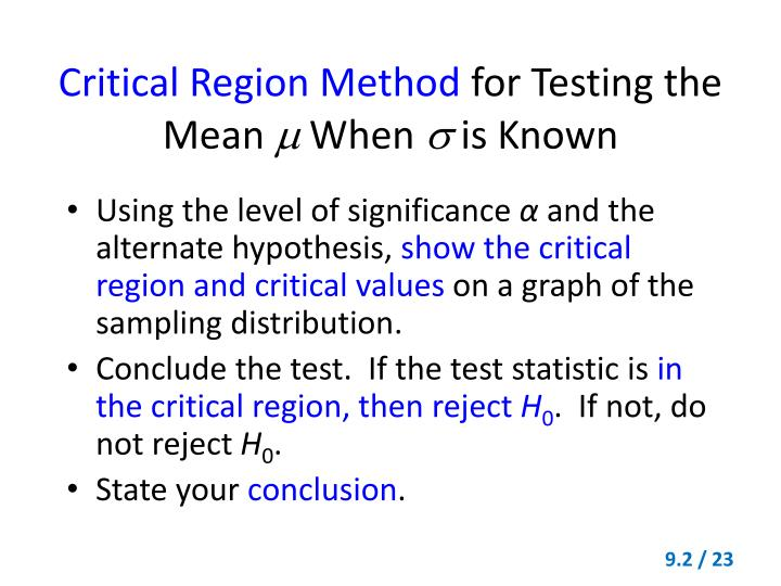 Critical Region Method