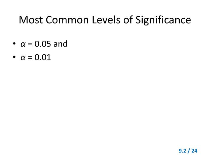 Most Common Levels of Significance