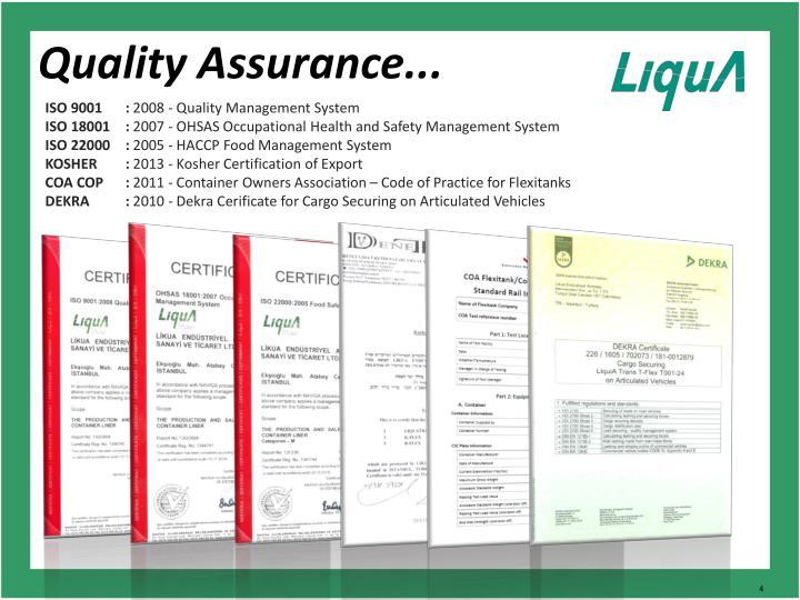 Quality Assurance...