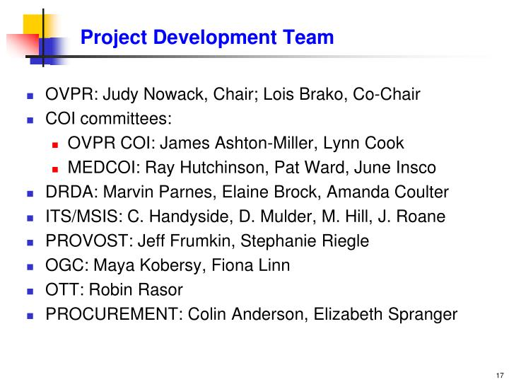 Project Development Team