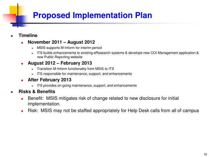 Proposed Implementation Plan