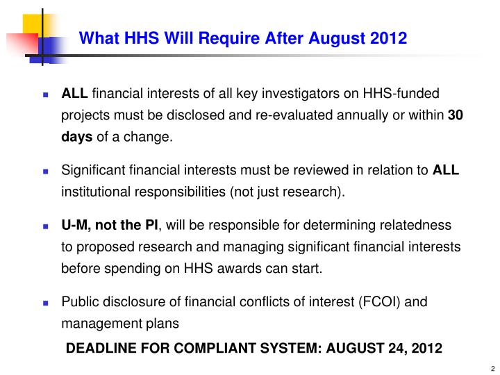 What hhs will require after august 2012
