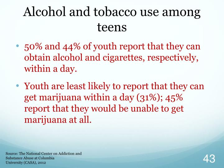 alcoholism among teenagers Trends in alcohol prevalence, age of initiation and association with alcohol-related harm among south african youth: implications for policy.