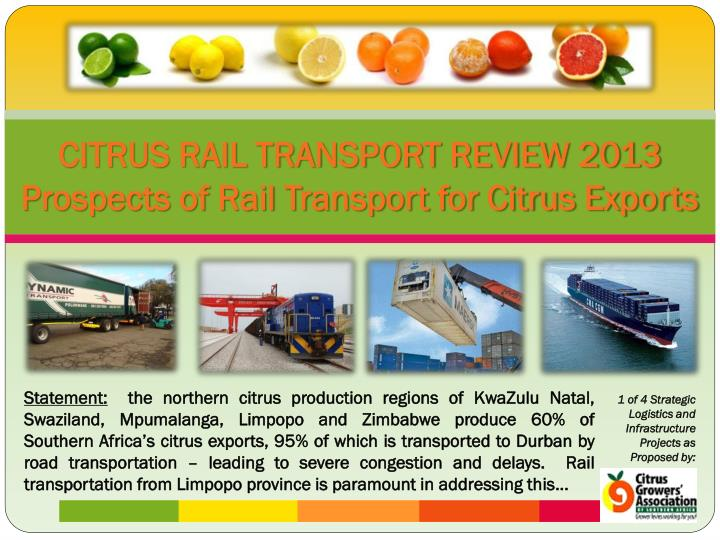 Citrus rail transport review 2013 prospects of rail transport for citrus exports