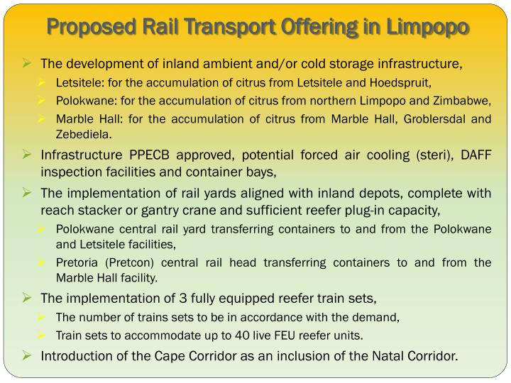 Proposed Rail Transport Offering in Limpopo