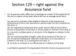 section 129 right against the assurance fund