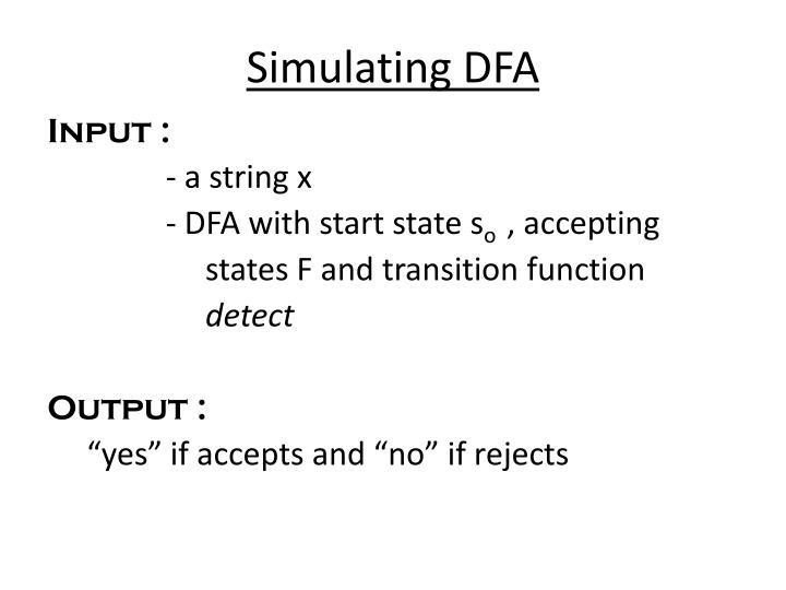 Simulating DFA