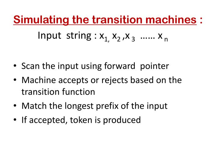 Simulating the transition machines