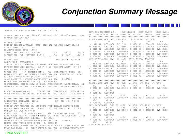 Conjunction Summary Message