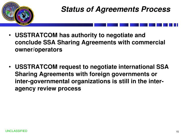 Status of Agreements Process