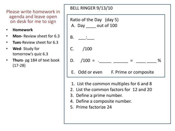 BELL RINGER 9/13/10