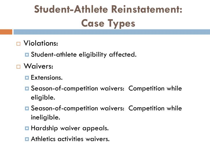 Student-Athlete Reinstatement: