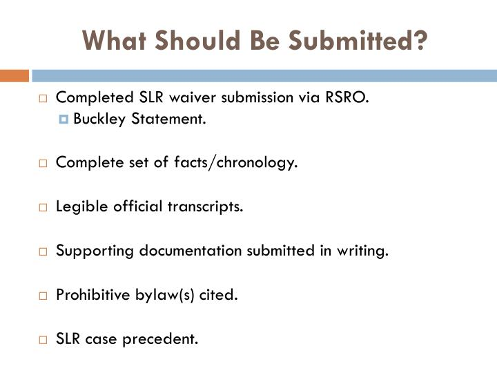 What Should Be Submitted?