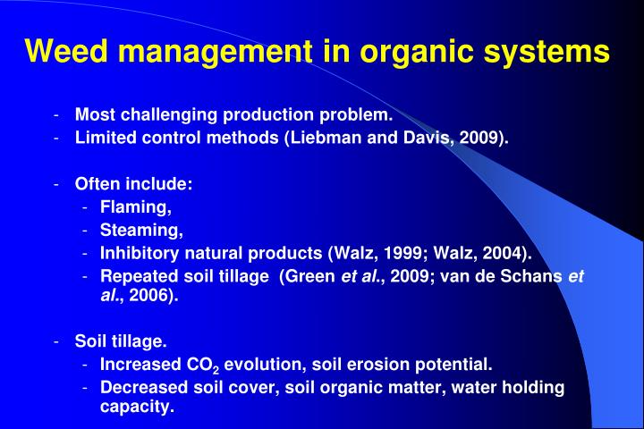 Weed management in organic systems