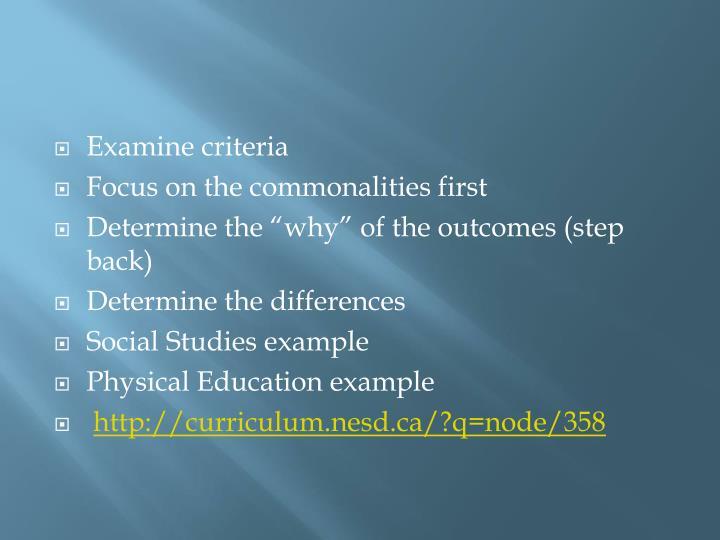Examine criteria