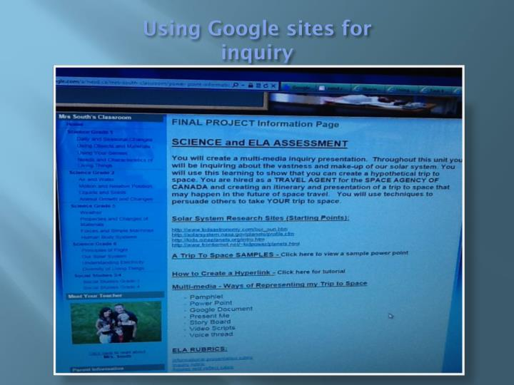 Using Google sites for inquiry