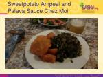 sweetpotato ampesi and palava sauce chez moi
