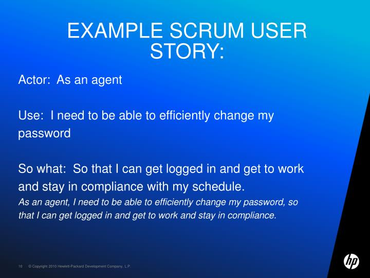 Example SCRUM user story: