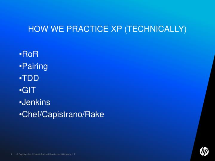How we practice XP (technically)