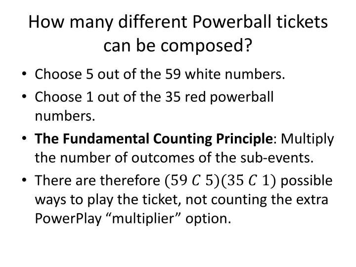 How many different Powerball tickets can be composed?