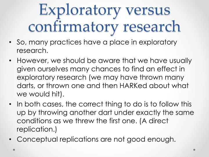 Exploratory versus confirmatory research