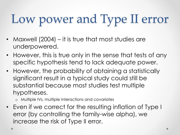 Low power and Type II error