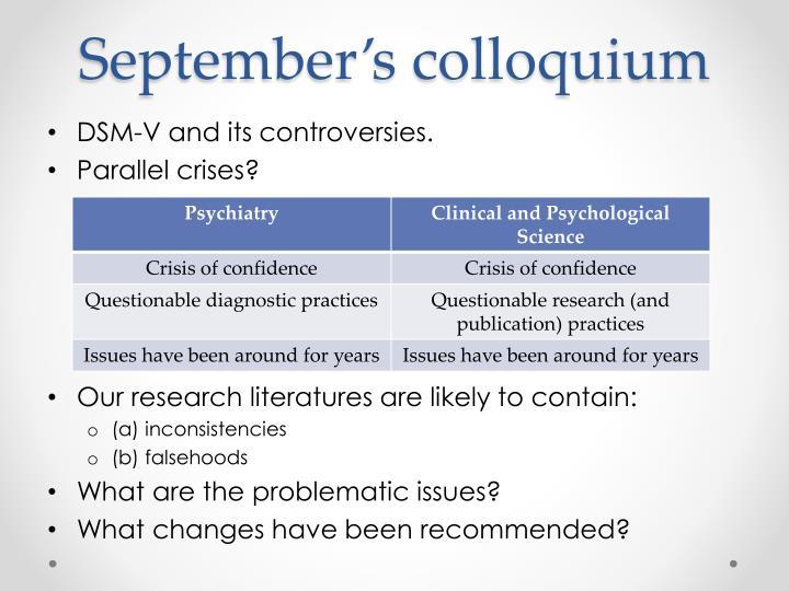 September's colloquium