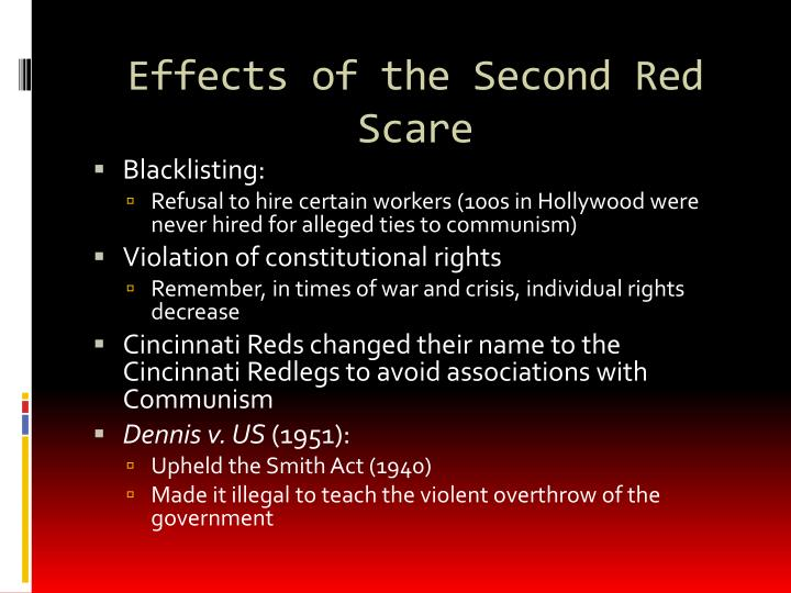 Effects of the Second Red Scare