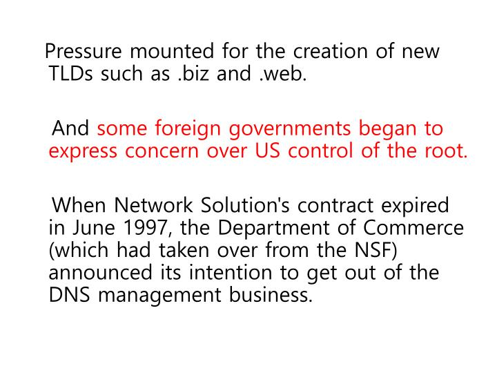 Pressure mounted for the creation of new TLDs such as .biz and .web.
