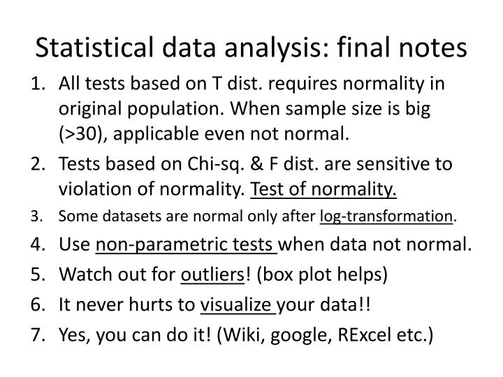 Statistical data analysis: final notes