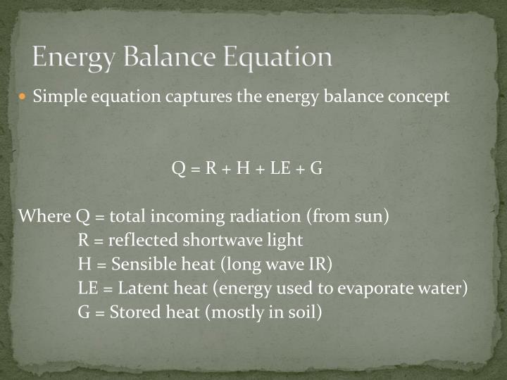 Energy Balance Equation