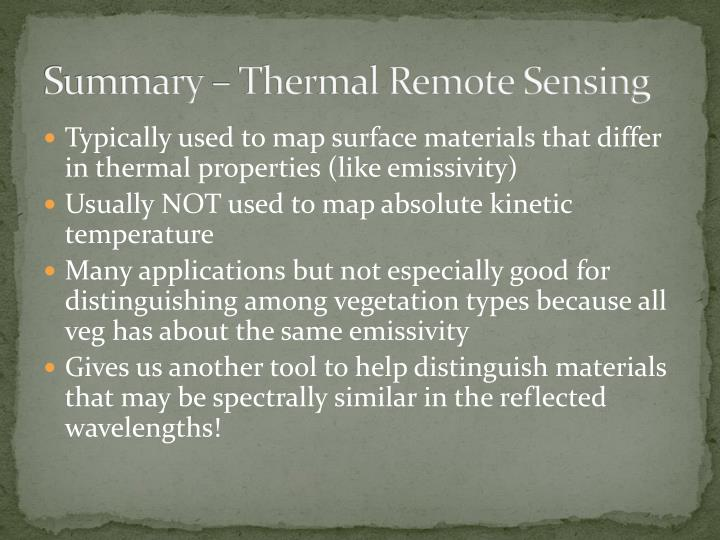 Summary – Thermal Remote Sensing