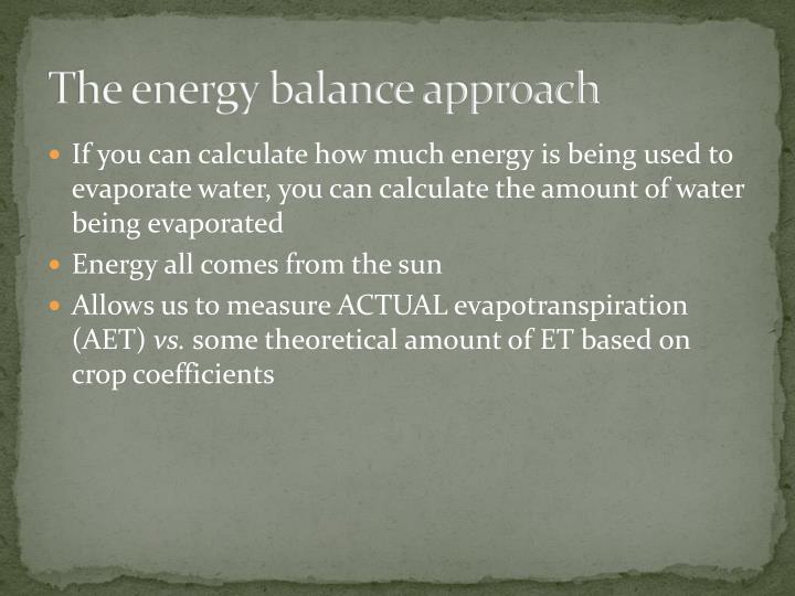 The energy balance approach