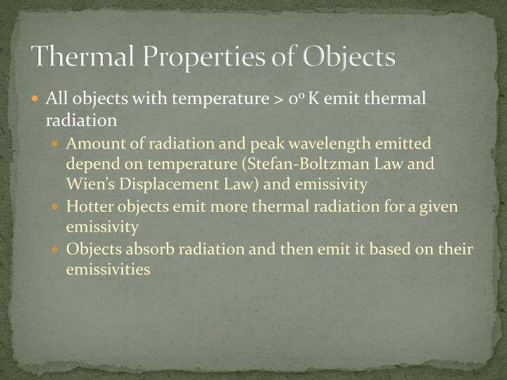 Thermal Properties of Objects