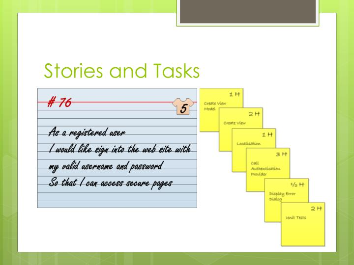 Stories and Tasks