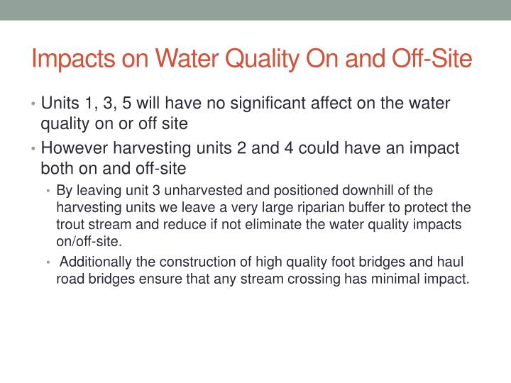 Impacts on Water Quality On and Off-Site