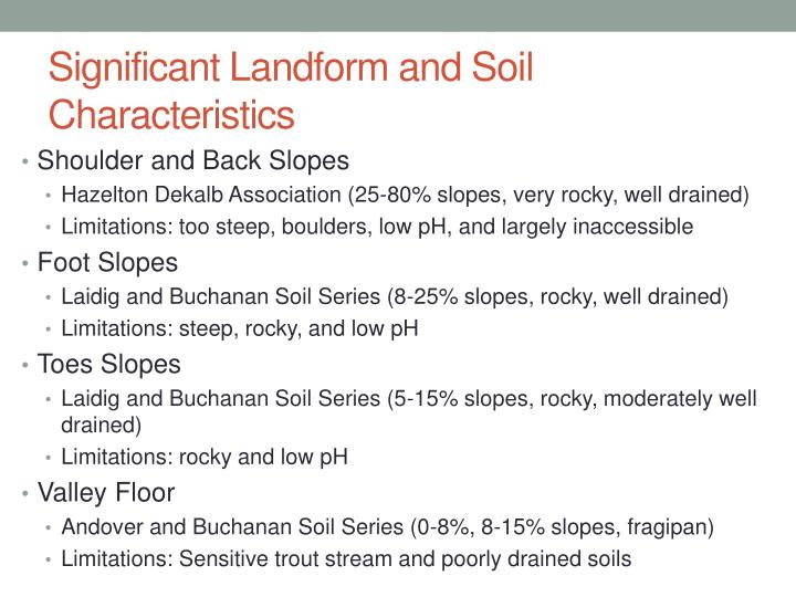 Significant Landform and Soil Characteristics
