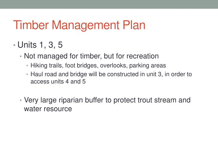 Timber Management Plan