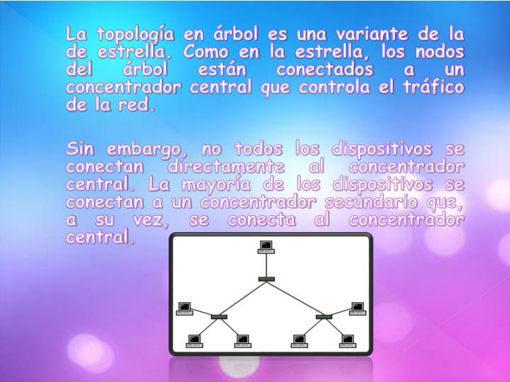 La topología en árbol es una variante de la de estrella. Como en la estrella, los nodos del árbol están conectados a un concentrador central que controla el tráfico de la red.