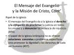 el mensaje del evangelio y la misi n de cristo cont1