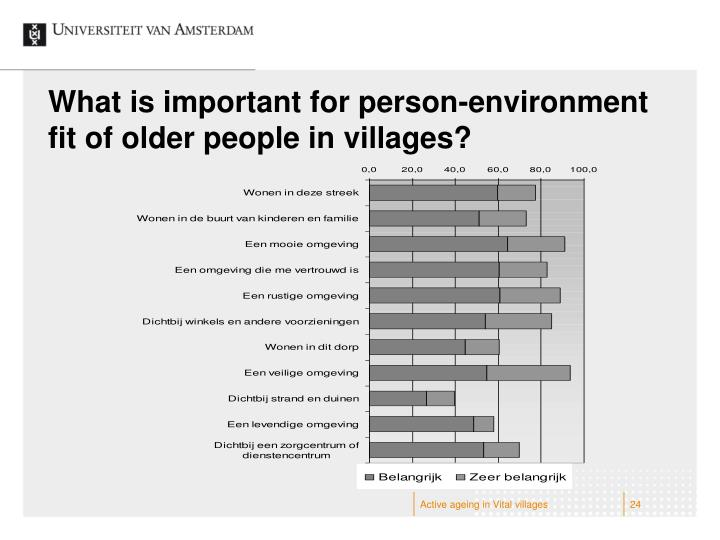 What is important for person-environment fit of older people in villages?