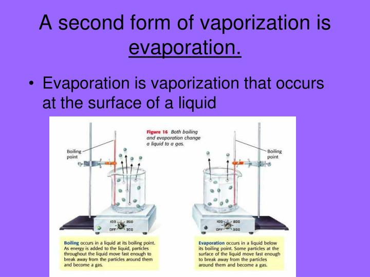 A second form of vaporization is