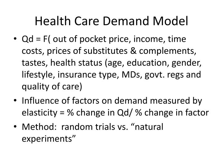 demand for medical care Health insurance and the demand for medical care: instrumental variable estimates using health insurer claims data abe dunny january 28, 2015 abstract.