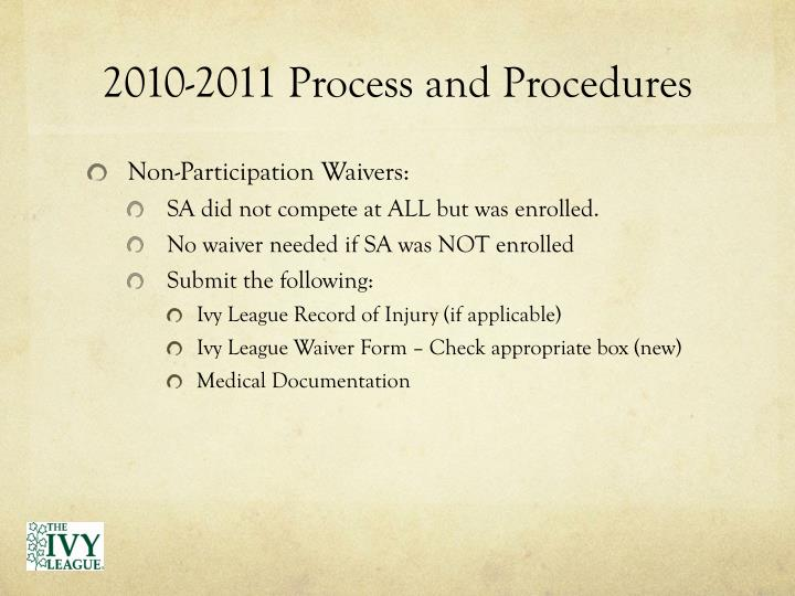 2010 2011 process and procedures